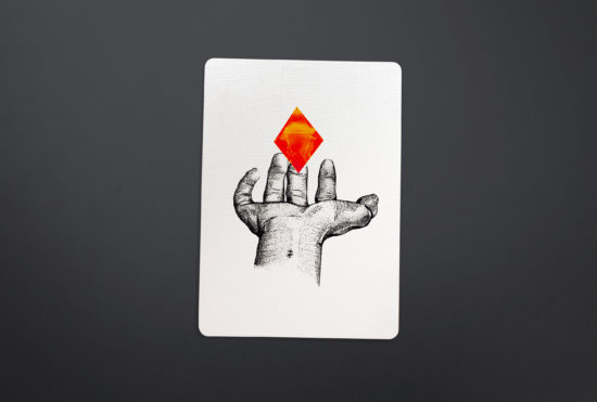Hand Pointilism with red diamond