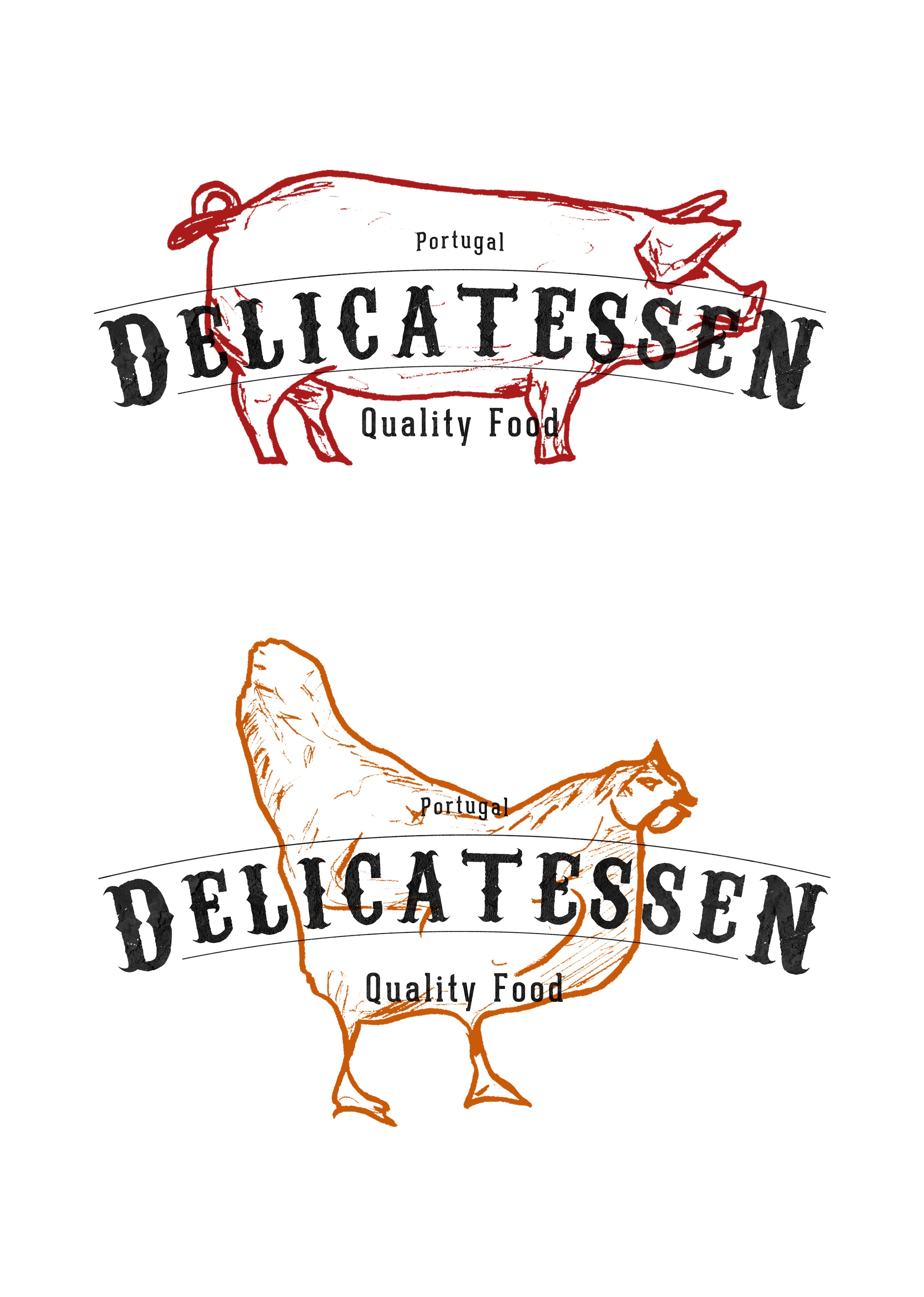 Delicatessen animals simple illustration