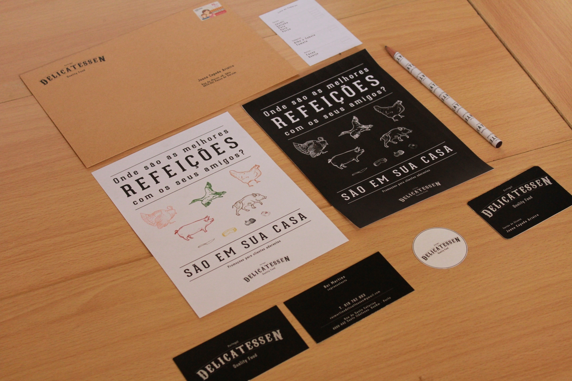 Delicatessen butcher stationary flyers and merch