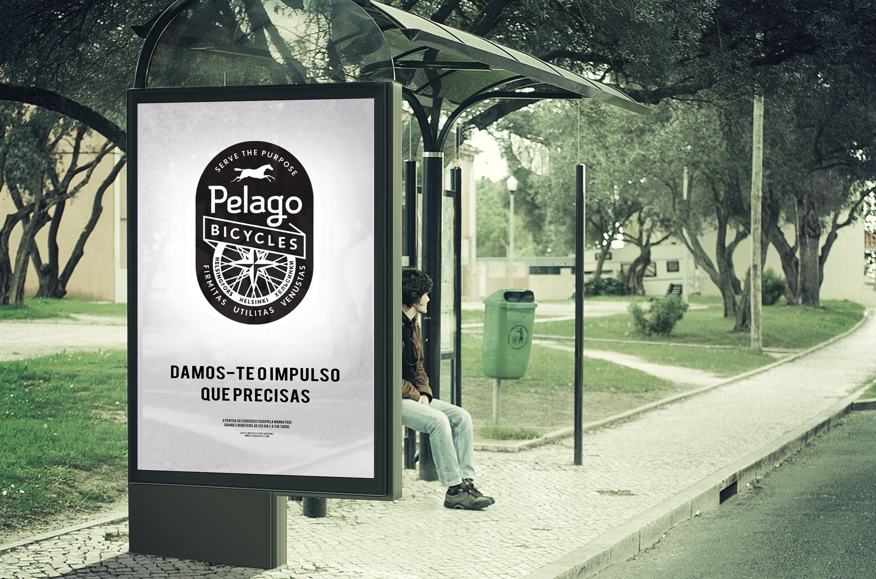 Pelago Bicycles Ad bus station stop