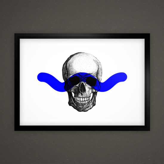 Skull's Head Illustration board on frame on the wall with blue