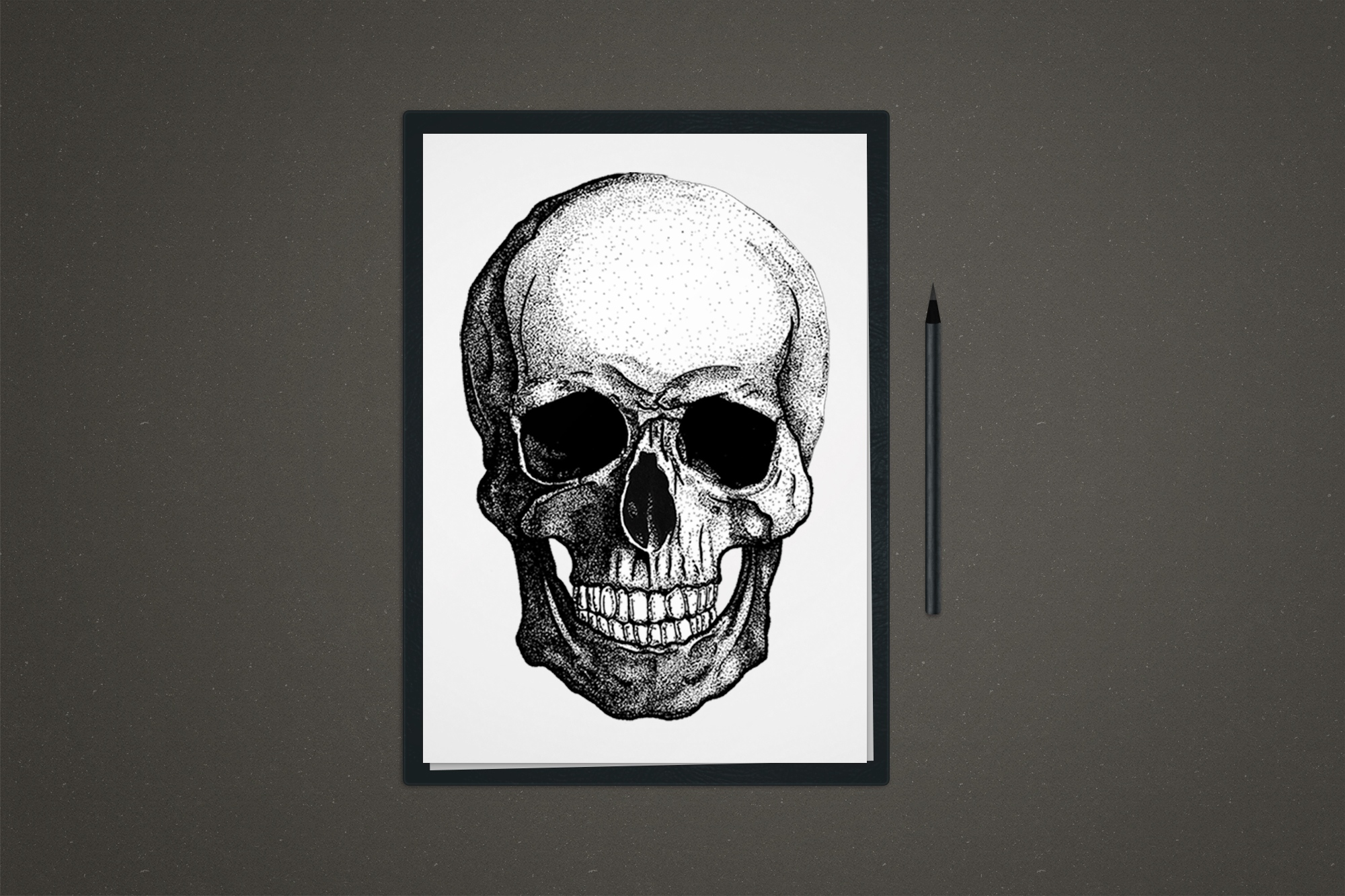 Skull's Head Illustration in a4 white paper and pencil