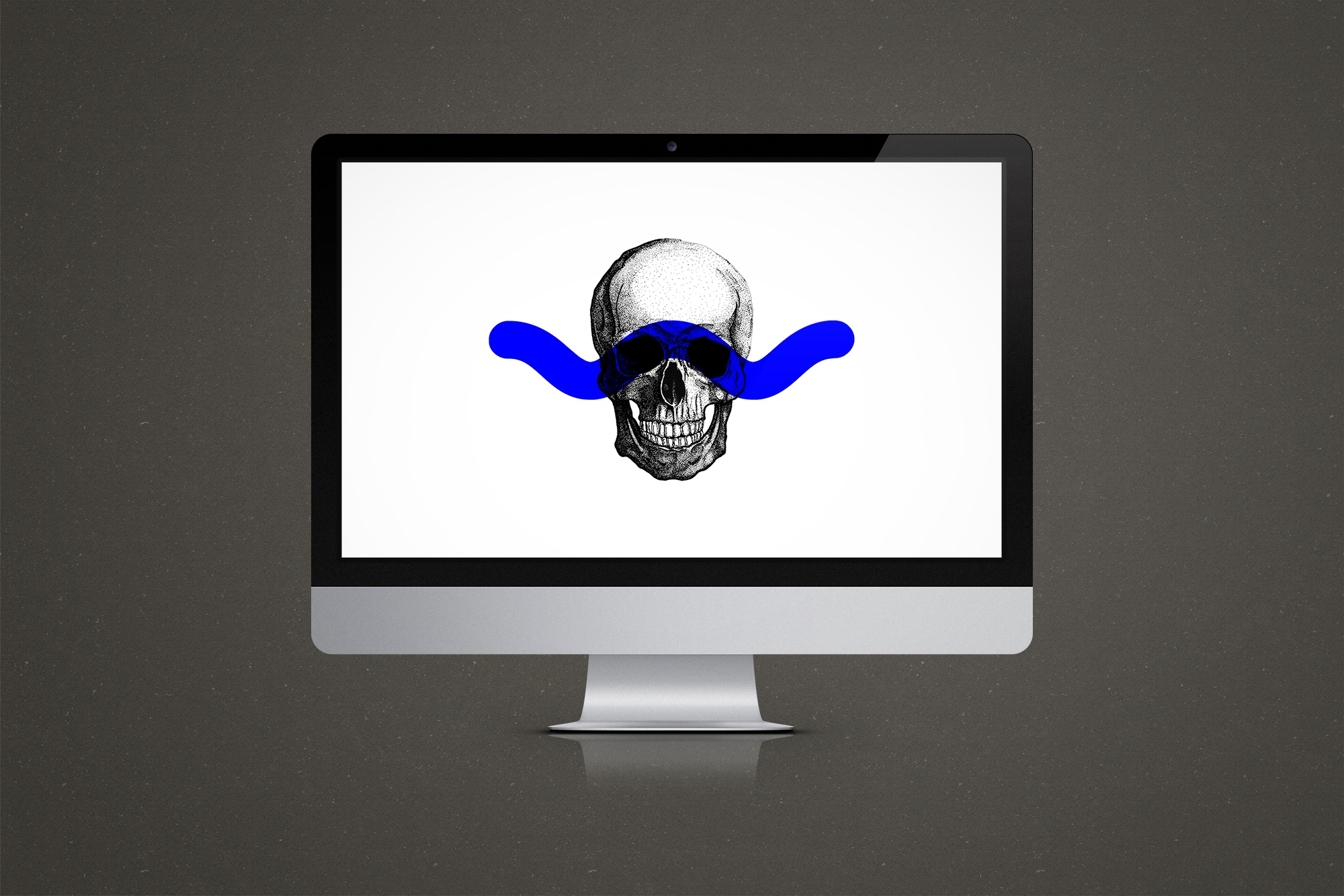 Skull's Head Illustration desktop HD wallpaper with blue mark