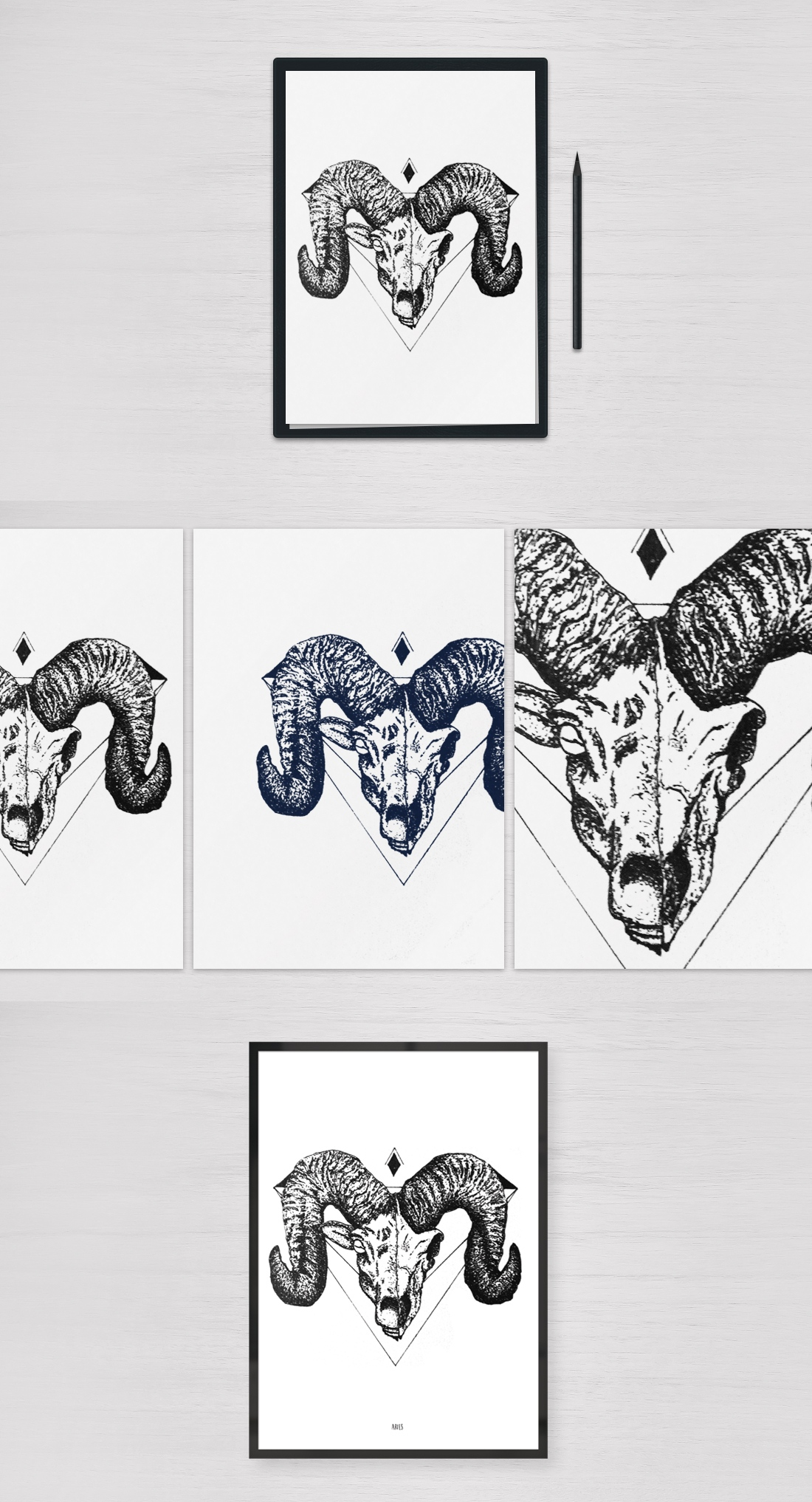 Aries Pointilism illustration, black and white