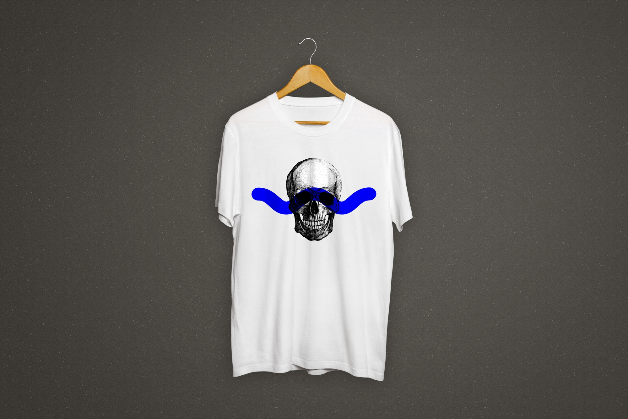 Skull's Head Illustration Tshirt with blue ribbon