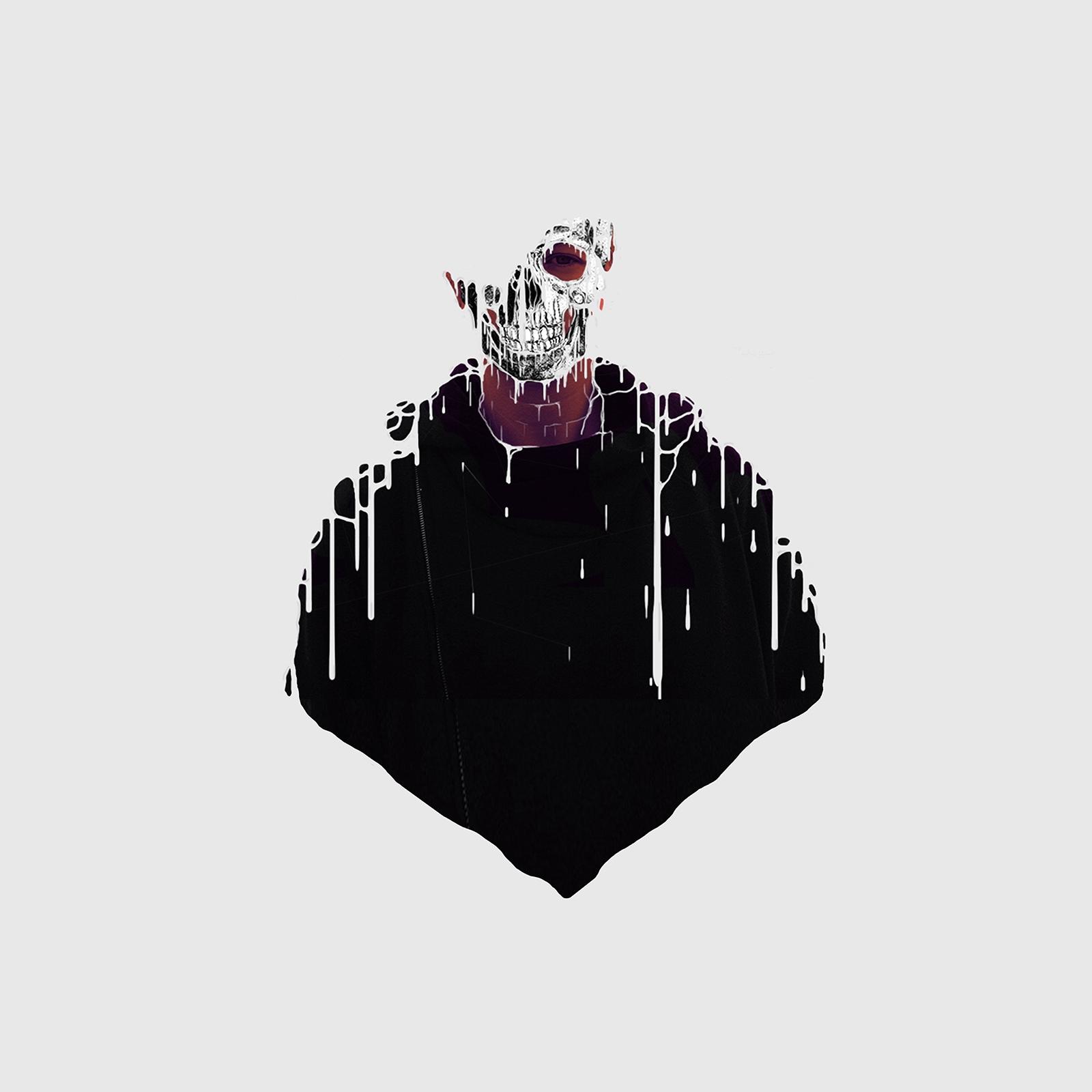 Joana Arieiro Face melting with skull illustration